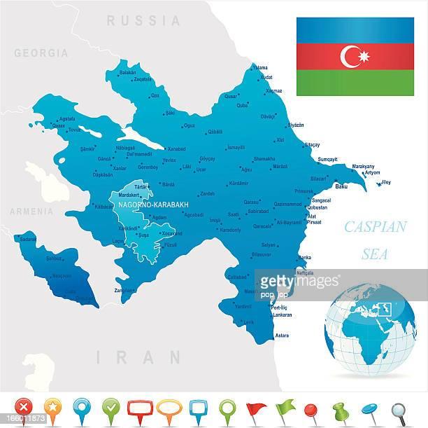 map of azerbaijan - states, cities, flag and icons - nagorno karabakh stock illustrations