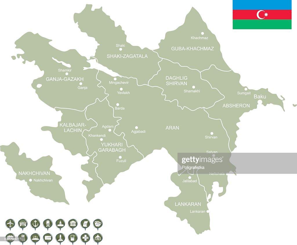 Karte Von Aserbaidschan Stock Illustration Getty Images
