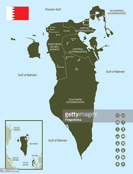 map of bahrain - bahrain stock illustrations, clip art, cartoons, & icons