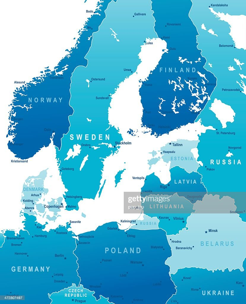 Map of baltic sea area states and cities vector art getty images map of baltic sea area states and cities vector art publicscrutiny Choice Image