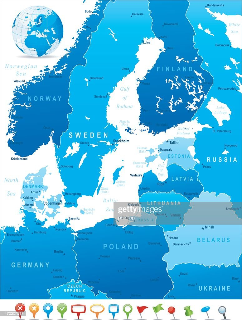 Map Of Baltic Sea Area States Cities And Icons stock vector - Getty ...
