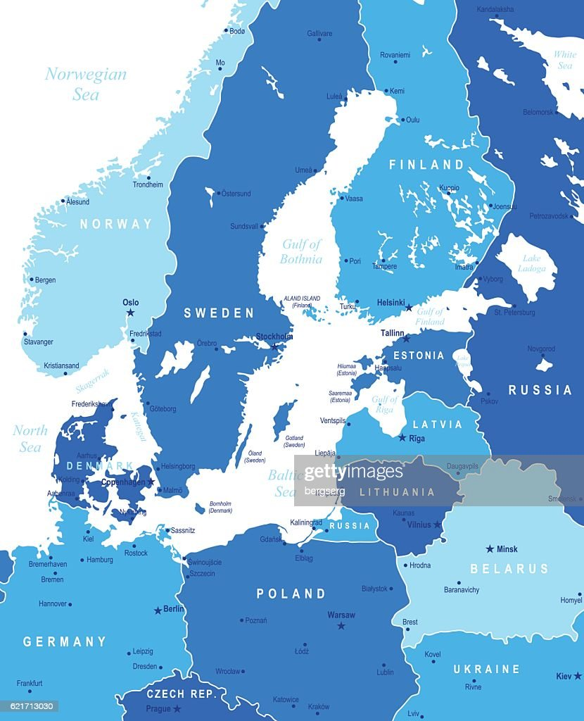 Map of baltic sea area vector art getty images map of baltic sea area vector art sciox Image collections