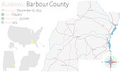 Map of Barbour County in Alabama