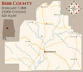 Map of Bibb County in Alabama