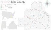 Map of Bibb County in Alabama