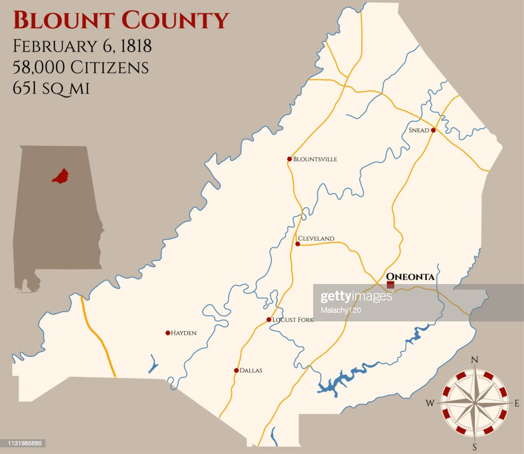 Map of Blount County in Alabama