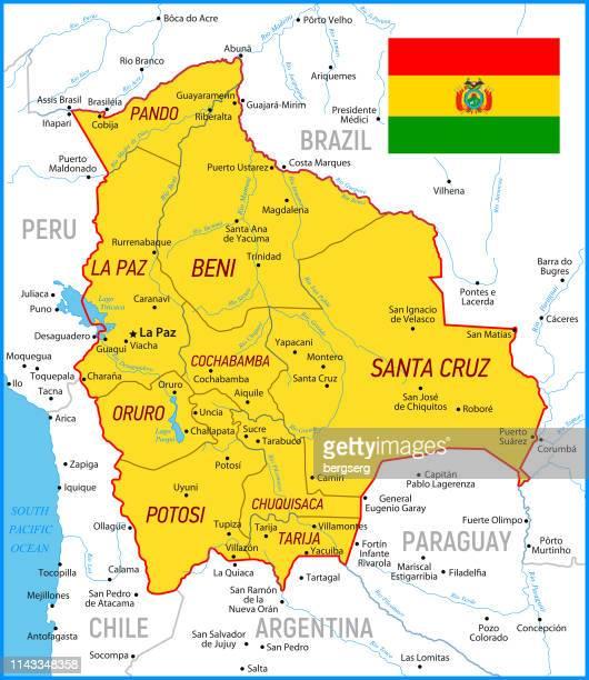 ilustraciones, imágenes clip art, dibujos animados e iconos de stock de mapa de bolivia. mapa vectorial naranja de alto detalle con borders y rivers - santa cruz de la sierra bolivia