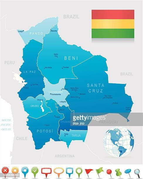 ilustraciones, imágenes clip art, dibujos animados e iconos de stock de mapa de estados-bolivia, ciudades y los iconos de navegación, bandera - bolivia
