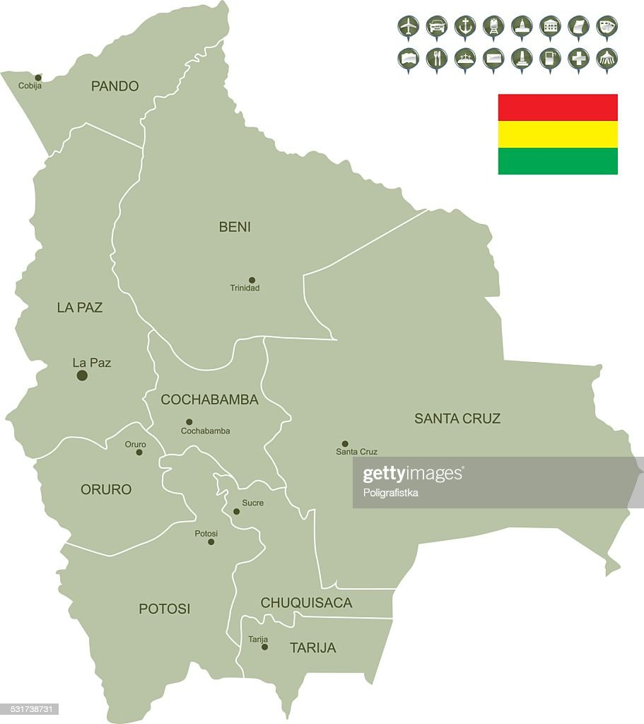 Map Of Bolivia Vector Art | Getty Images