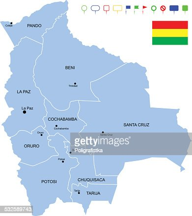 Map Of Bolivia States Cities And Flag Vector Art Getty Images - Map of bolivia