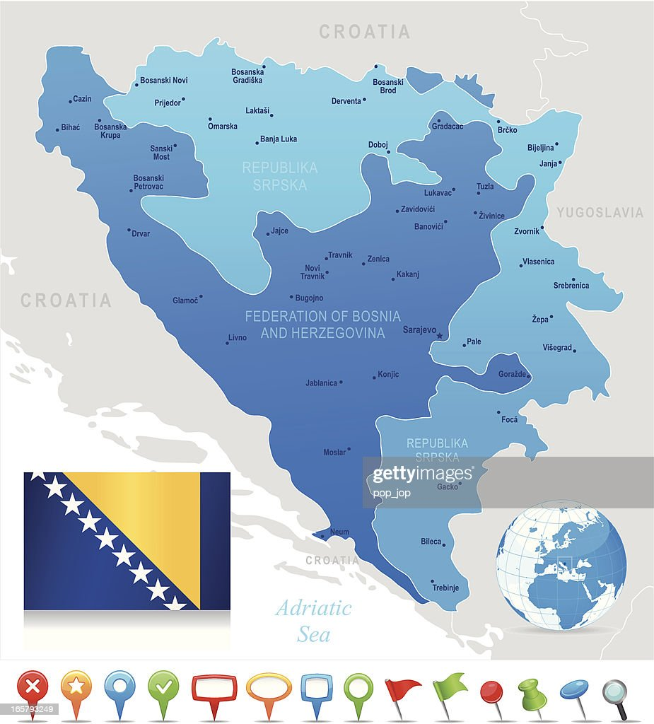 Picture of: Map Of Bosnia And Herzegovina States Cities Flag Icons High Res Vector Graphic Getty Images
