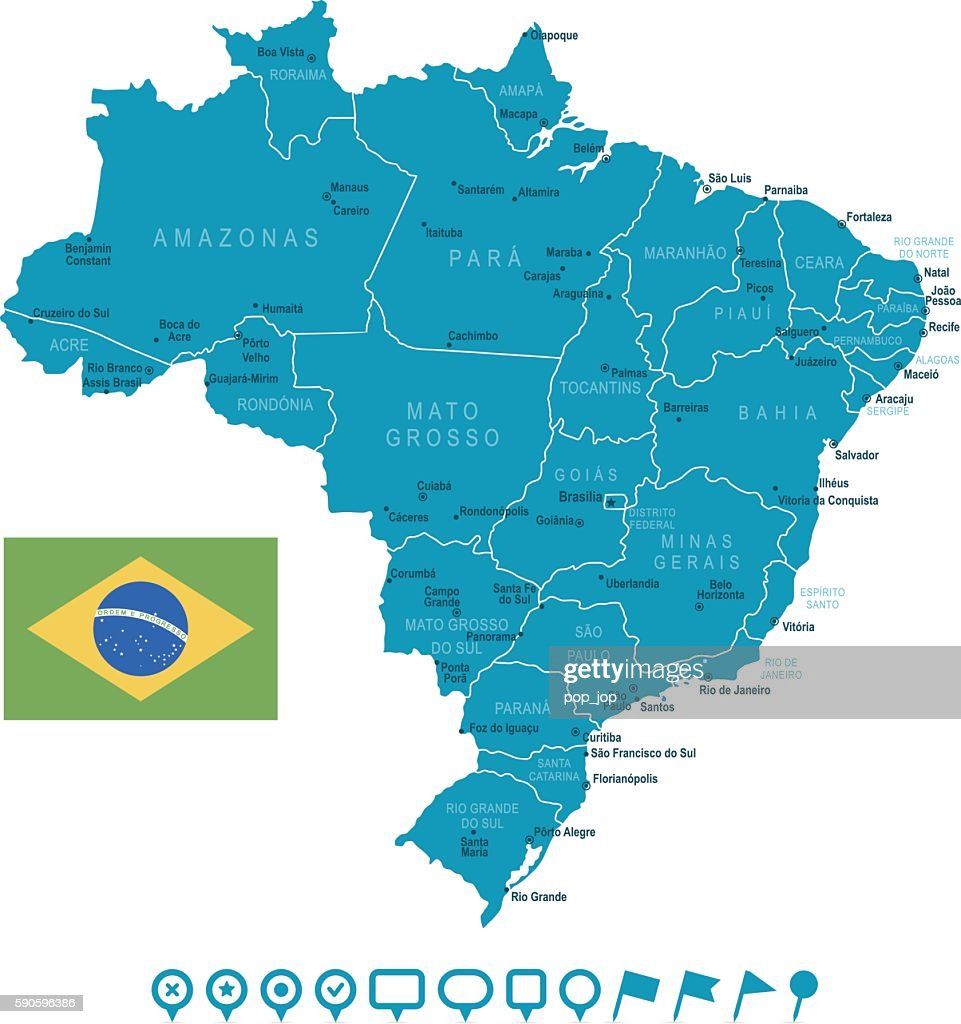 Map Of Brazil And Navigation Icons Stock-Illustration ...
