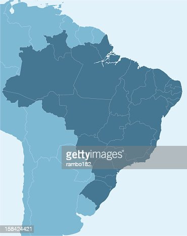 Map Of Northern South America Highlighting Brazil Vector Art - Brazil south america map