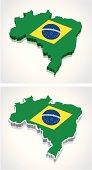 3D Map of Brazil Flag