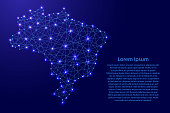 Map of Brazil from polygonal blue lines and glowing stars vector illustration