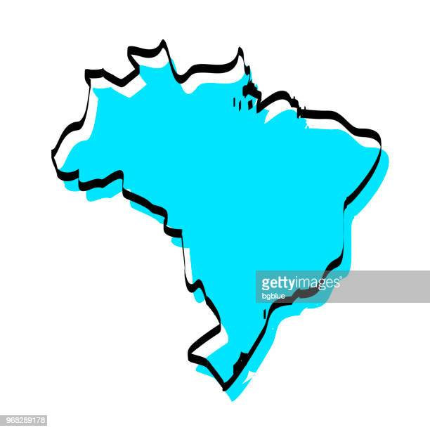 brazil map hand drawn on white background, trendy design - brazil stock illustrations