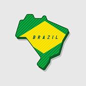 Map of Brazil Modern 3d Style.