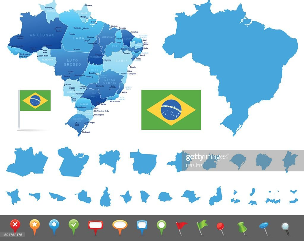 Map Of Brazil States Cities And Navigation Icons Vector Art Getty
