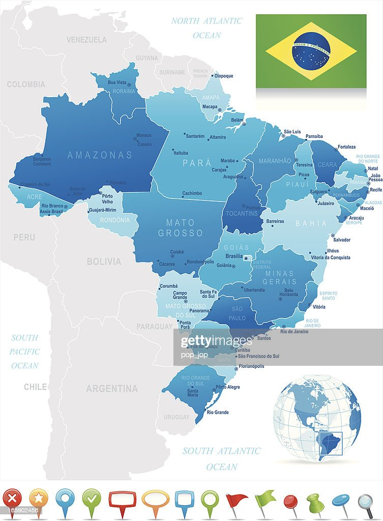 Map Of Brazil States Cities Flag And Navigation Icons stock ...