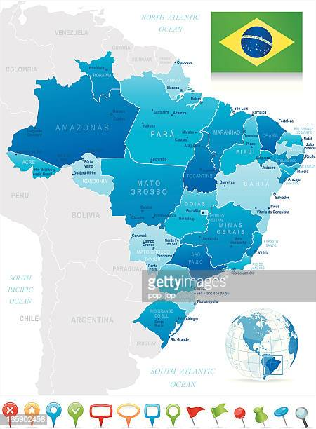 Map of Brazil - states, cities, flag and navigation icons