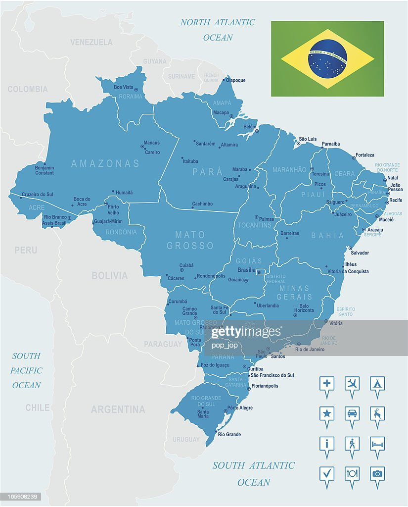 Map Of Brazil States Cities Flag And Navigation Icons Vector Art