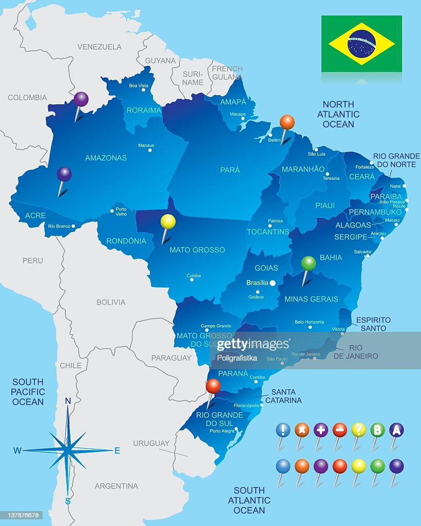 A map of brazil with majority of it highlighted in blue vector art a map of brazil with majority of it highlighted in blue vector art gumiabroncs Choice Image