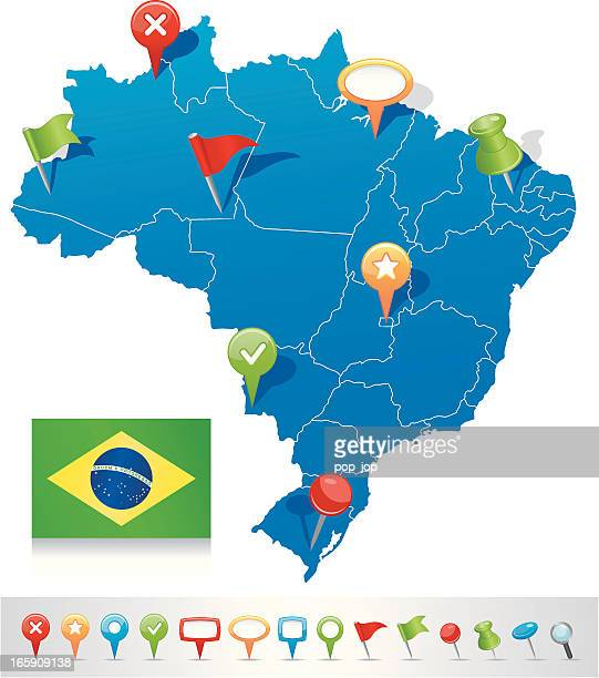 Map of Brazil with navigation icons