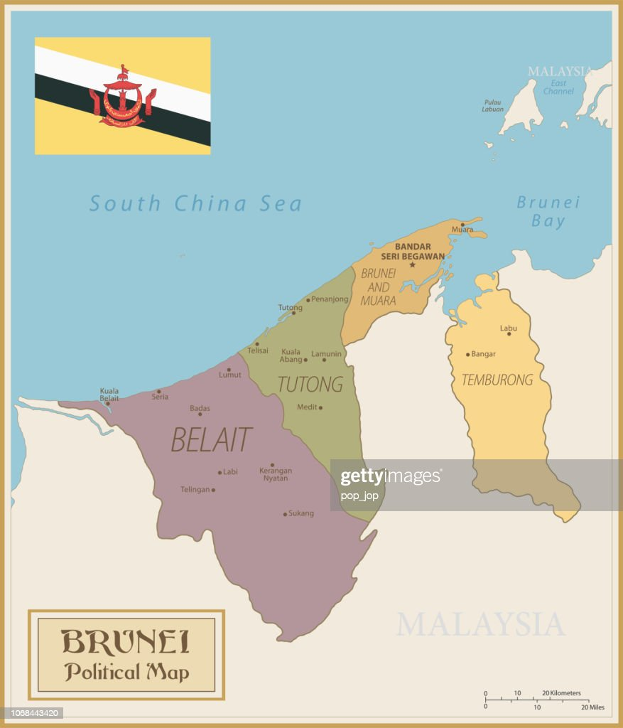 Map Of Brunei Vintage Vector High Res Vector Graphic Getty Images