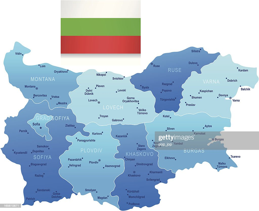 Map Of Bulgaria States Cities And Flag Vector Art Getty Images - Map of bulgaria