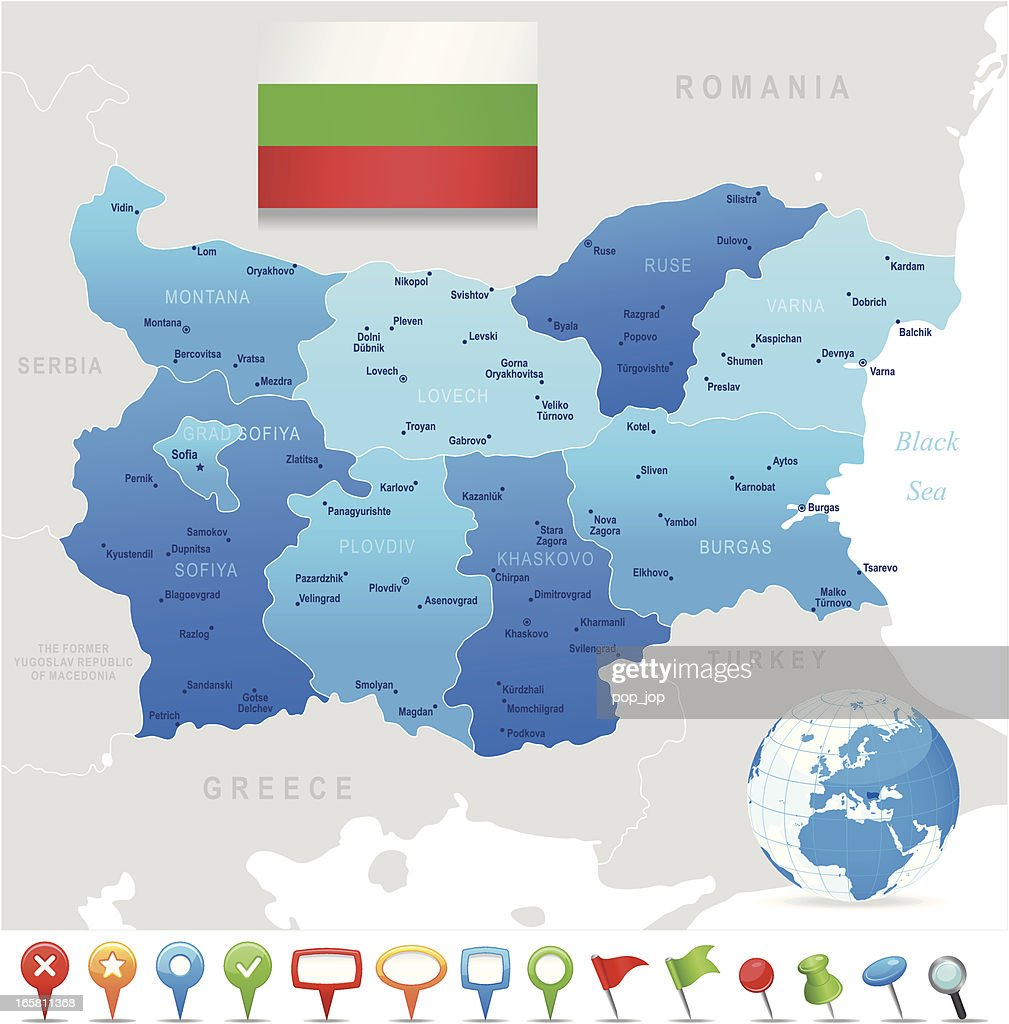 Map of Bulgaria - states, cities, flag, navigation icons