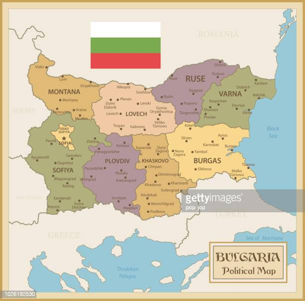 Map of Bulgaria - Vintage Vector