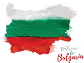 Map of Bulgaria with the decoration of the national flag.
