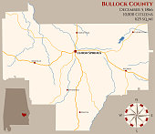 Map of Bullock County in Alabama
