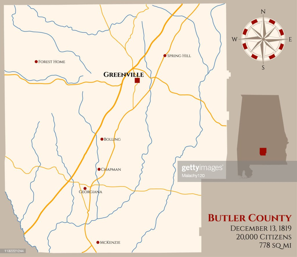 Map of Butler County in Alabama