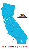 Map of California State and Flat Map Icons