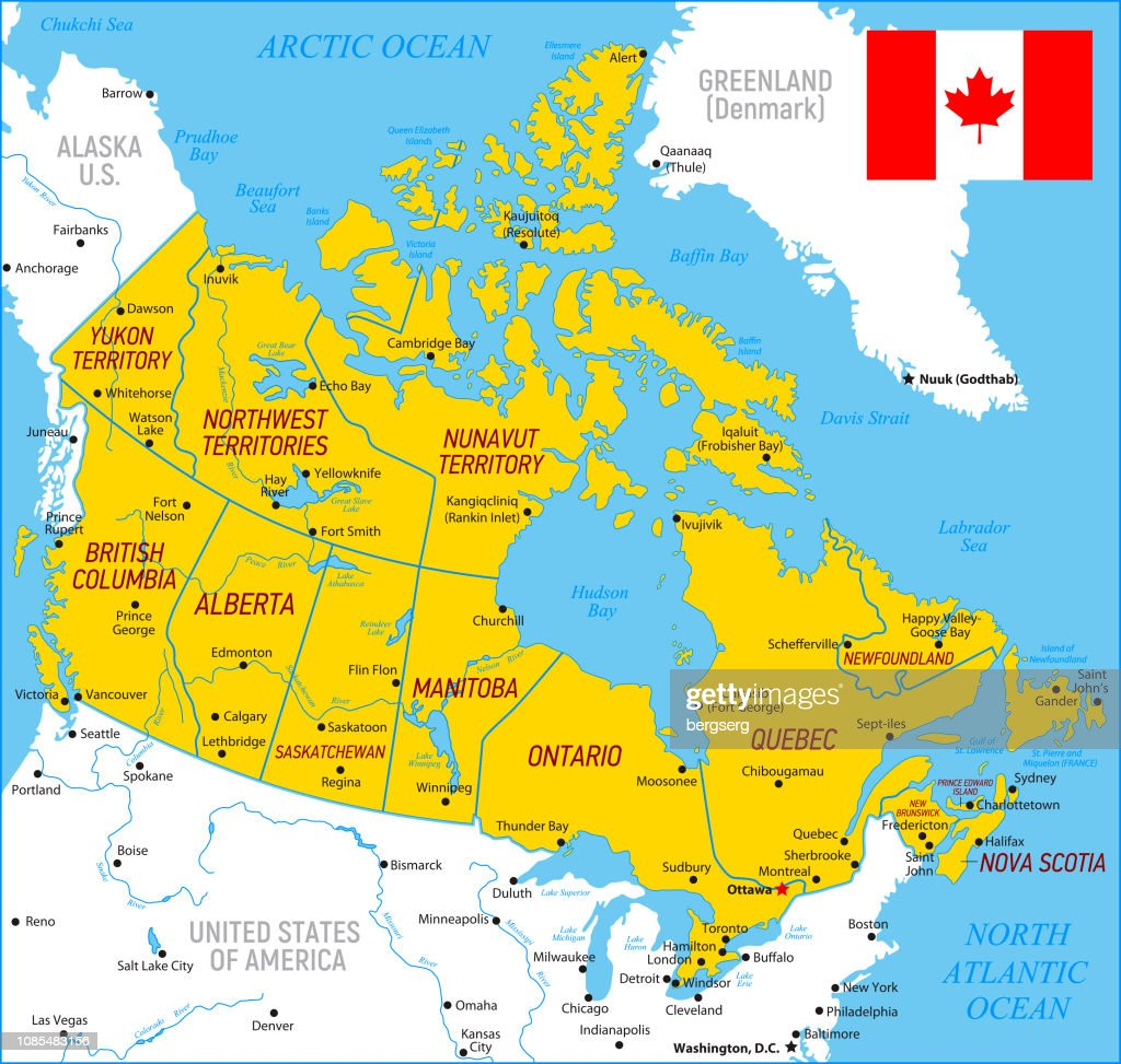Detailed Map Of Canada.Map Of Canada High Detailed Orange Vector Map With Borders