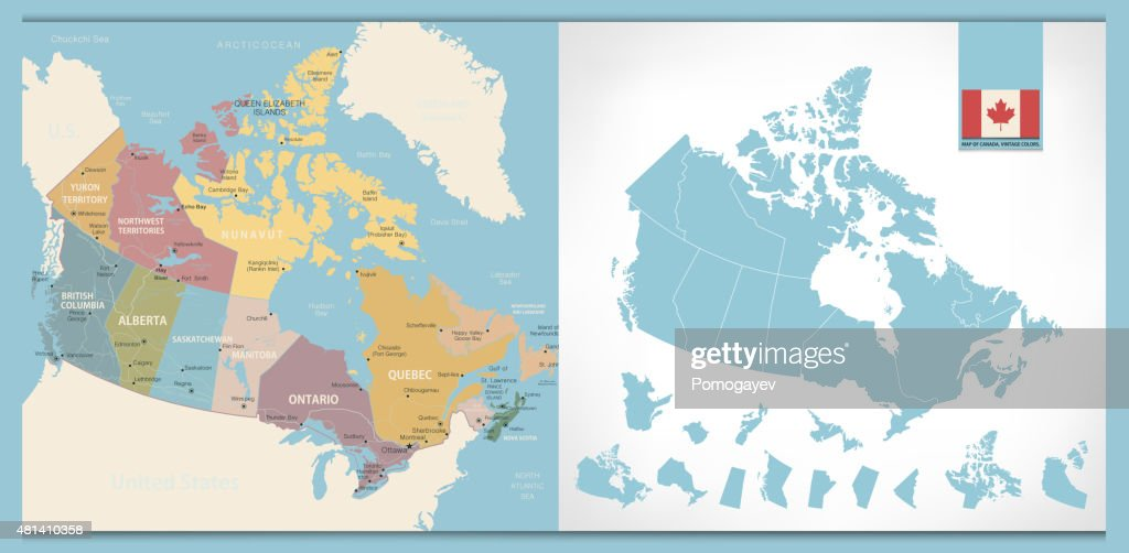 Map of Canada with vintage colors