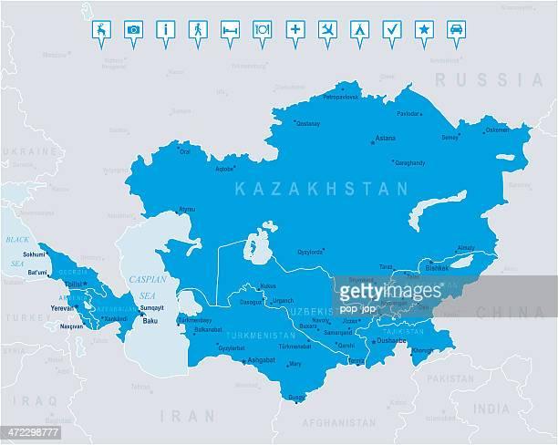 マップのコーカサスとセントラルアジア国、都市、アイコン - 中央アジア点のイラスト素材/クリップアート素材/マンガ素材/アイコン素材