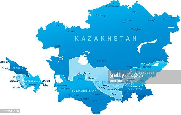 map of caucasus and central asia - states, cities - kazakhstan stock illustrations
