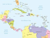Map of Central America - illustration