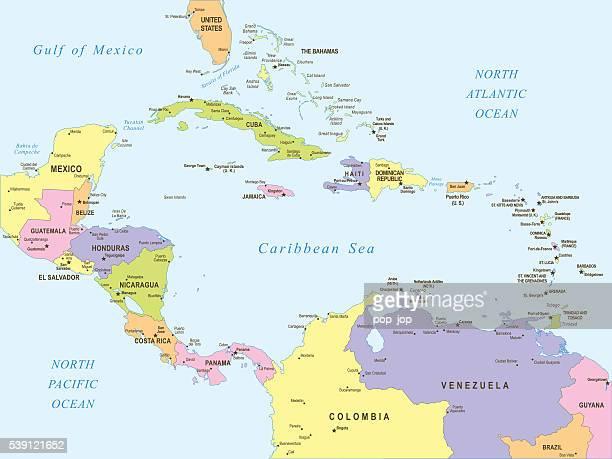 中央アメリカの地図 -イラストレーション - オランダ領リーワード諸島点のイラスト素材/クリップアート素材/マンガ素材/アイコン素材