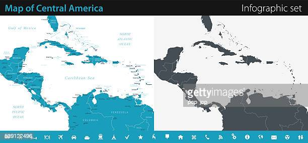 Map of Central America - Infographic Set