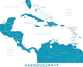 Map of Central America - Navigation Icons