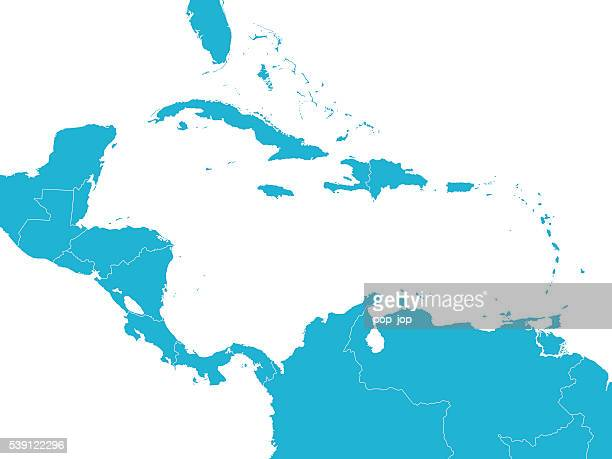 map of central america - dominica stock illustrations