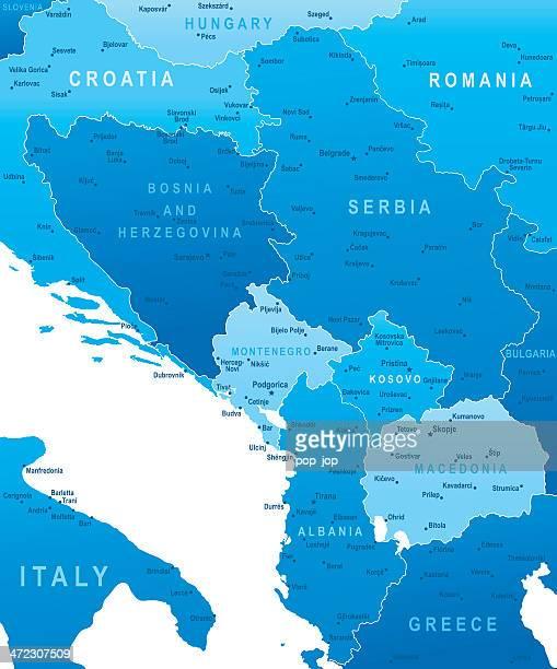 karte von central balkanregion-staaten und städte - montenegro stock-grafiken, -clipart, -cartoons und -symbole