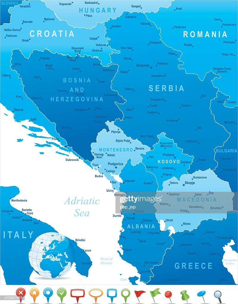 Map of Central Balkan Region - states, cities and icons : Stock Illustration
