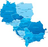 Map of Central Europe - states and cities