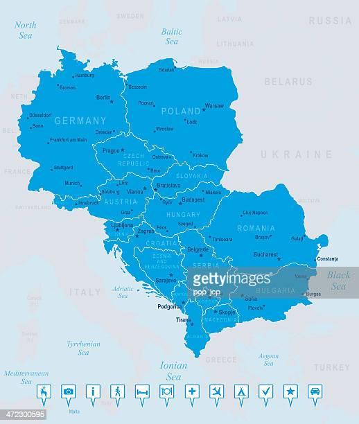 ilustrações, clipart, desenhos animados e ícones de mapa da europa central-membros, cidades, ícones de navegação - sérvia