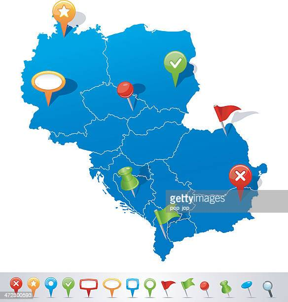 Map of Central Europe with navigation icons