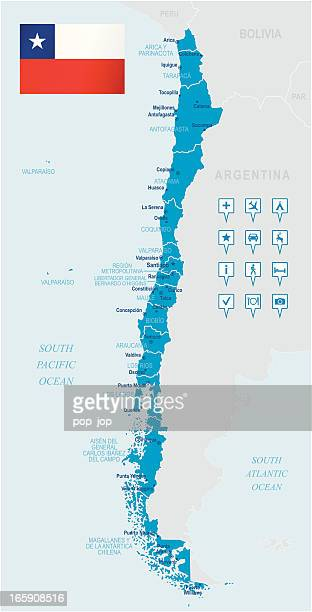 Map of Chile - states, cities, flag and navigation icons